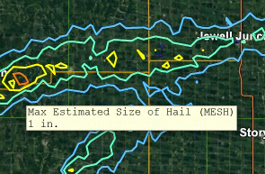 MRMS Max Estimated Size of Hail (MESH) Placefile